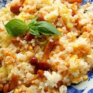 まな板なし!5分❤冷凍ゴーヤ&蕎麦の実なめこ炒飯♪