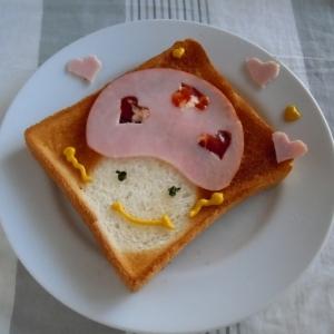 簡単 お絵描きトースト モモコドモダケちゃん♪
