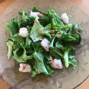 グリーンリーフとむきエビ、ブロッコリーのサラダ