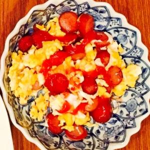 ソーセージと卵炒め