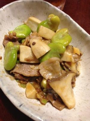空豆とキノコと豚肉のオイスターソース炒め☆