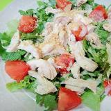 茹で鶏と春菊のピーナッツ風味サラダ