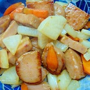 【うま塩】で根野菜とおさかなハンバーグの炒め物