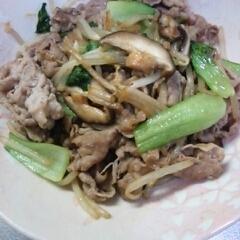 豚肉とチンゲン菜炒め。