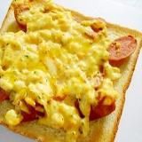 ウインナーと卵サラダのトースト