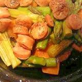 カボチャとアスパラとソーセージのタジン鍋