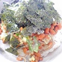 納豆の食べ方-大葉&ミョウガ♪