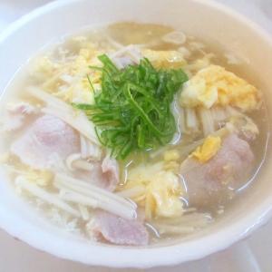 豚肉、えのき、卵のスープ