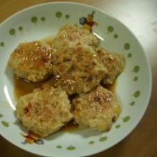里芋の煮物の残り汁で!鶏つくね