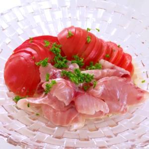 トマトと白身魚(イサキ)の三杯酢