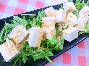 水菜と豆腐のサラダ★焼き肉のタレ&マヨネーズで