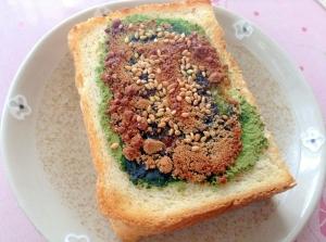 香ばしい〜♪青汁黒糖胡麻トースト