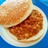 納豆の食べ方-酒粕そぼろ味噌バーガー♪