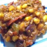 コーンとピーマンとミックス豆と玉ねぎのトマト煮