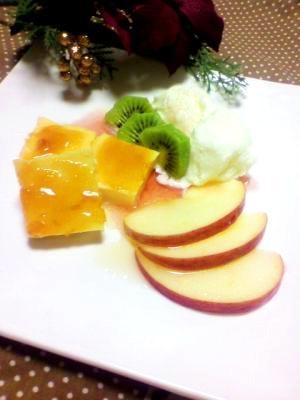 ドルチェプレート☆カタラーナ・フルーツ&アイス添え