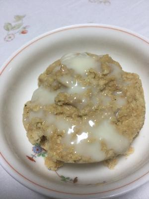 きな粉でおから蒸しパンの練乳かけ