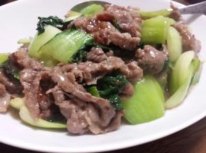 簡単♪チンゲン菜と牛肉の甘辛炒め