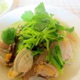 塩豚とアサリと豆腐のスープ