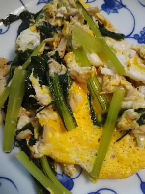 小松菜とツナの卵炒め(^^)