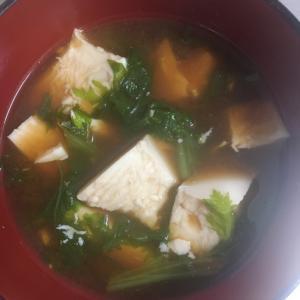 豆腐とわさび菜のお味噌汁