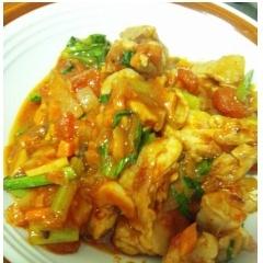 鶏肉と小松菜のトマト煮