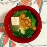 わさび菜、木綿豆腐、なめこのお味噌汁