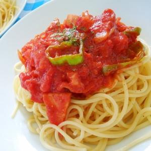 トマトとパンチェッタ(厚切ベーコン)のスパゲティ☆