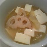 豆腐キャベツ蓮根の中華ミルクスープ♪