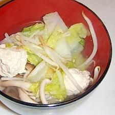 塩麹鶏豆腐団子の生姜スープ