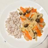 大豆ミートとキノコの塩麹野菜炒め