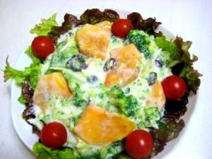 柿とブロッコリーのヨーグルトサラダ