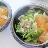 レンコンと茎若芽と鰹節ポン酢ジェルサラダグリル
