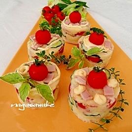 ミニトマトのカップケーキ風ポテトサラダ