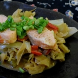 海外でも和食★野菜たっぷり、鮭のちゃんちゃん焼き