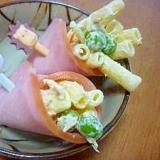 *お弁当おかず*マカロニサラダのハム巻き*