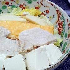 鶏胸肉ハム林檎白菜豆腐玉子焼き饂飩