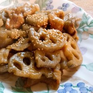蓮根と豚肉の甘辛生姜炒め