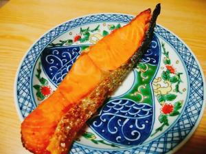 ごま油で焼き鮭