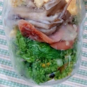 メイソンジャー 菜の花と舞茸と卵の醤油炒め