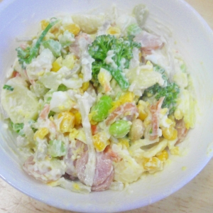 市販レトルトサラダを、おいしくボリュームUP!