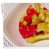 白にがうりとトマトのシャキシャキサラダ