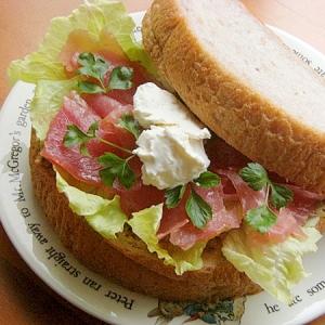 粒マスタード味❤五穀パンでクリチと生ハムのサンド♪