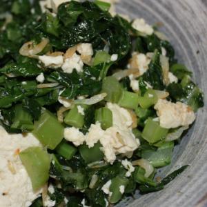 大根葉と豆腐の塩炒め