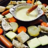 野菜とウインナーと餃子のチーズフォンデュ