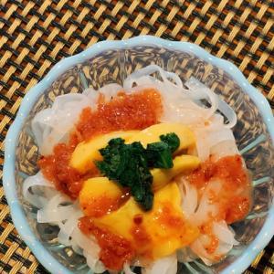 簡単ヘルシー、ホヤ梅蒟蒻麺