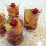 桃とチェリーのショウガ風味ゼリー