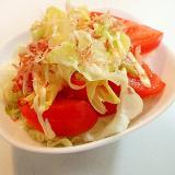 白だしマヨで レタスとトマトと茹でキャベツのサラダ