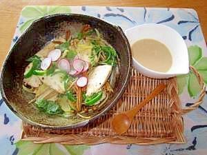 鮪;ベジタブル豆乳胡麻ソース
