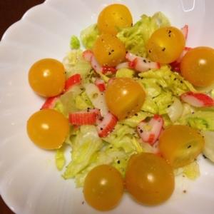 黄色いトマトのオリーブオイルサラダ