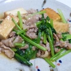 豚肉と小松菜と厚揚げで味噌炒め